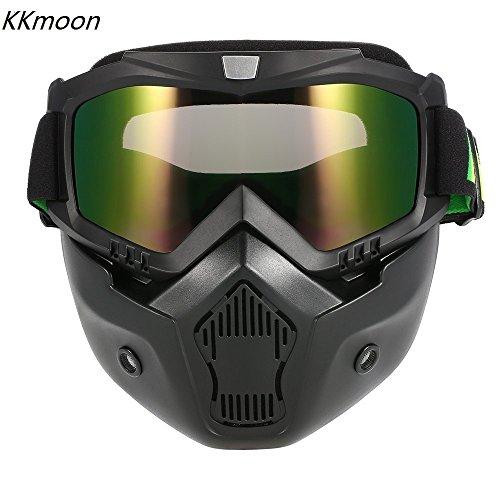 KKmoon Mortorcycle Maske abnehmbaren Schutzbrille und Mund Filter für Open Face Helm Motocross Ski (Maske Mund)