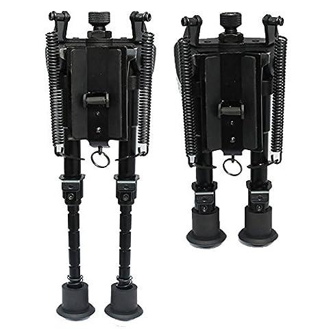 Xshuai 6-9 Zoll gehärteter Stahl verstellbarer Drehgelenk / Drehfeder Zurück Gewehr Zweibein Verstellbare Beine (Schwarz)