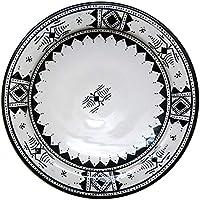 Marrakech Accessoires – Negro Color Blanco | Multicolor Cerámica Plato Multicolor de Marruecos | grandes cerámica