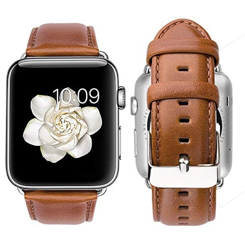 MroTech Lederarmband Ersatz kompatibel für iWatch Armband 44mm 42mm Watch Band echt Leder Uhrenarmband Ersatzarmband kompatibel für iWatch Serie 1 2 3 4 Sport Edition Nike+ 42 mm 44 mm Braun - Echte Serie