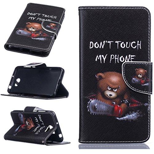LMAZWUFULM Hülle für Huawei Y6 II Compact/Huawei Y5 II (5,0 Zoll) PU Leder Magnet Brieftasche Lederhülle Wütender Bär Muster Stent-Funktion Ledertasche Flip Cover