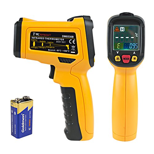 uxcell Colorful Screen Infrared Thermometer Gun(-58 to 1022 F) 12 Lasers Aim Adjustable Emissivity with Leather Case for Cooking Meat DM6530B