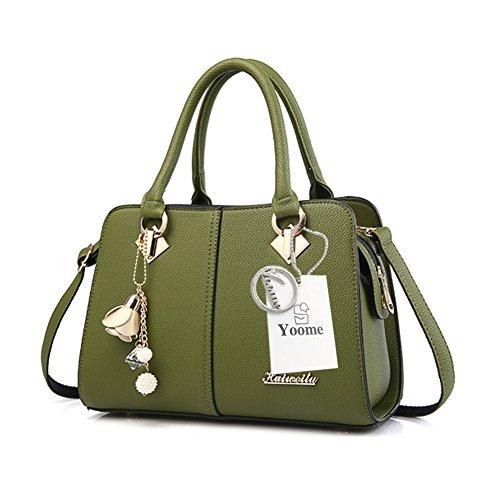 Yoome Hardware Ciondolo Lichee Top Pattern Handle Satchel Per Donna Borsa Elegante Borse Donna - L.Purple verde