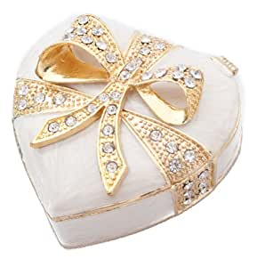 Sophia Heart Epoxy with Crystals Trinket Jewellery Box Cream Gold