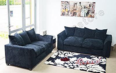 Dylan Byron Black Fabric Jumbo Cord Sofa Settee Couch 3+2 Seater by Furniture Stop