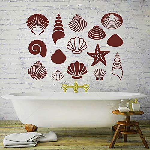 Verschiedene Formen Sea Shell Wandtattoos Vinyl Aufkleber Aufkleber Bad Dusche Fenster Kindergarten Childern Schlafzimmer Drawingroom Dekoration 60x30 cm
