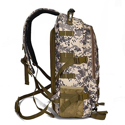 Cuckoo 38L Escursionismo Daypack Zaino impermeabile Borsa backpacking viaggio Outdoor Sport Arrampicata Alpinismo Campeggio Pesca Ciclismo Zaino da sci con coperchio pioggia, nero bianco-camouflage