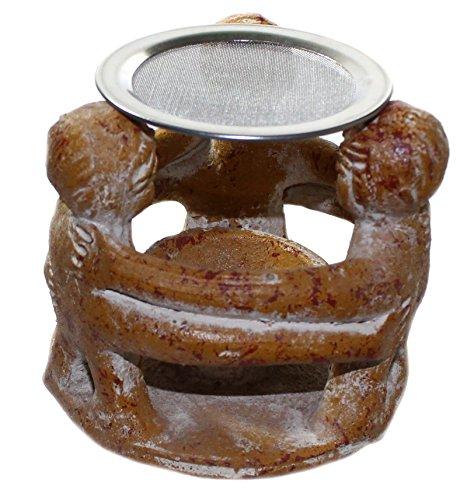 budawi® - Räucherstövchen Freundeskreis mit 3 Figuren mit Edelstahlsieb, Handwerkskunst aus Mexico, Teelichthalter
