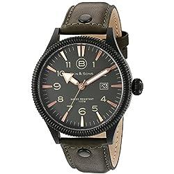 Ben & Sons Ranger Herren-Armbanduhr 45mm Armband Leder Grün Quarz Zifferblatt Grau Analog 10019-BB-014-OLS