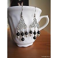 Orecchini con triskele triskel onice nera celtico handmade