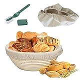 Gärkörbchen rund , Ø 25 cm, Höhe 8.5 cm - inkl. Leineneinsätze + Bäckermesser - Die ideale Brotgärform aus natürlichem Peddigrohr