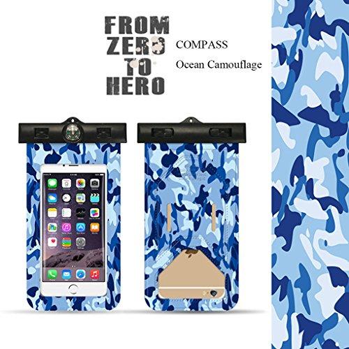 72561Ocean Camouflage Wasserdicht Fall Mpow® IPX8Unterwasser Dry Bag wasserdichte Tasche mit Umhängeband Wasserdicht versiegelten System für iPhone X/8/7/7Plus/6S/6S Plus/5S/SE und andere Smartphone