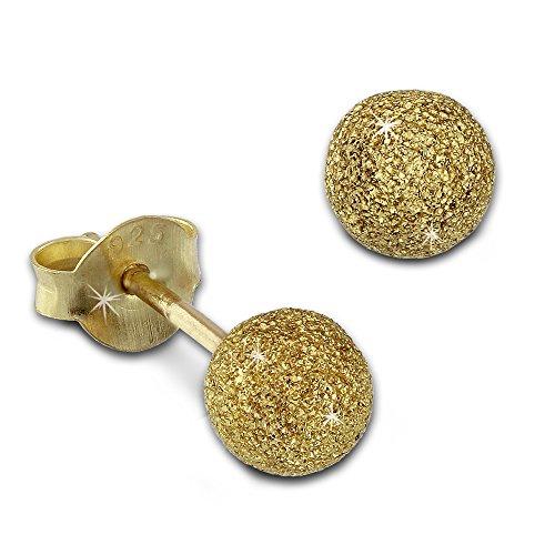 SilberDream Ohrringe 5mm Damen Silber 585 Ohrstecker Kugel vergoldet SDO9515Y