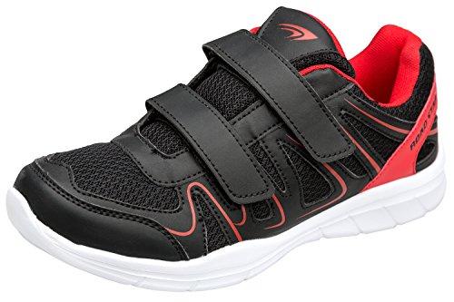 gibra Herren Sportschuhe Sneaker, Art. 1137, mit Klettverschluss, Schwarz/Rot, Gr. 41