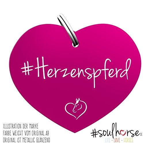 Soulhorse Pferde Glücksmarke Herzenspferd Herz Pink fürs Halfter, Trense und Zaumzeug