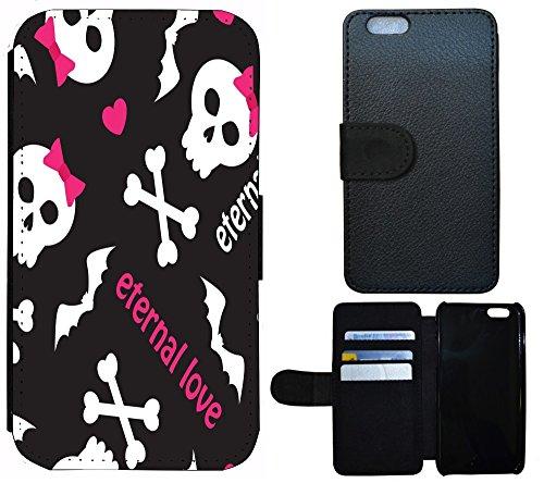 Schutz Hülle Flip Cover Handy Tasche Etui Case für (Apple iPhone 5 / 5s, 1244 Wolf Grau) 1249 Totenkopf Carton Schwarz Rosa Weiß
