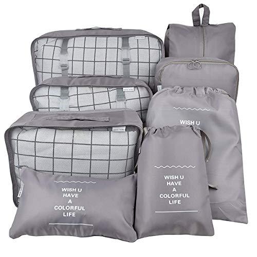 Belsmi Reise Kleidertaschen Set 8-teilig Reisetasche in Koffer Reisegepäck Organizer Kompression Taschen Kofferorganizer Mit Schuhbeutel (Grau) -
