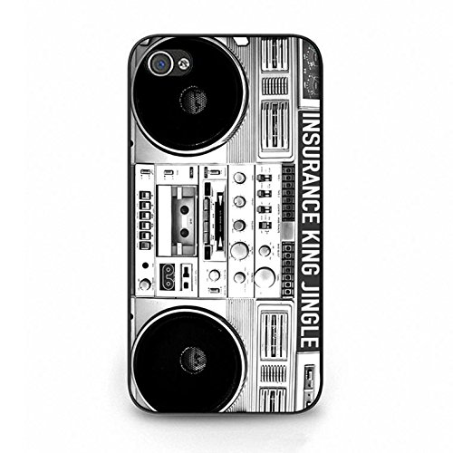 Iphone 4/4s Boom Box Shell Cover,Vintage Personality Boombox Phone Case Cover for Iphone 4/4s Boombox Classic Color091d