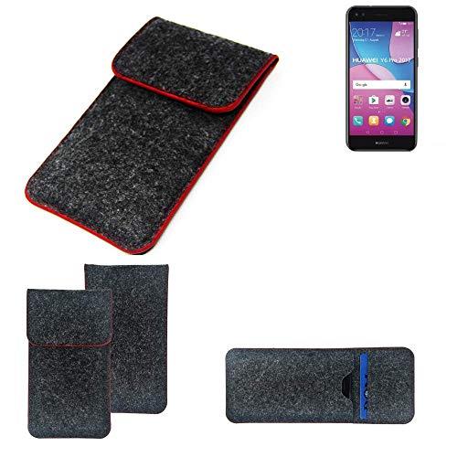 K-S-Trade® Filz Schutz Hülle Für -Huawei Y6 Pro 2017 Dual SIM- Schutzhülle Filztasche Pouch Tasche Case Sleeve Handyhülle Filzhülle Dunkelgrau Roter Rand