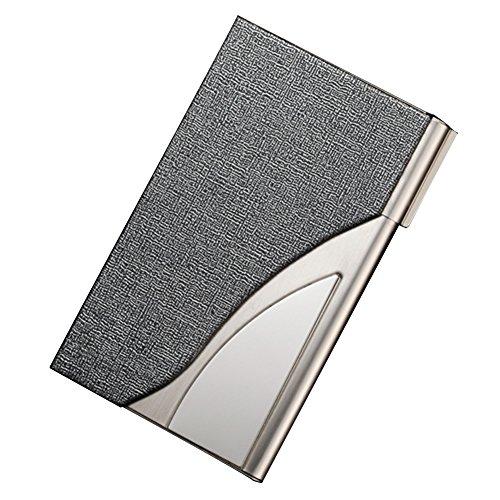 Tobeit Metall Etui Visitenkarten aus PU Leder und Edelstahl Visitekartenetui/Visitenhalter für Mann und Frauen (Silber)