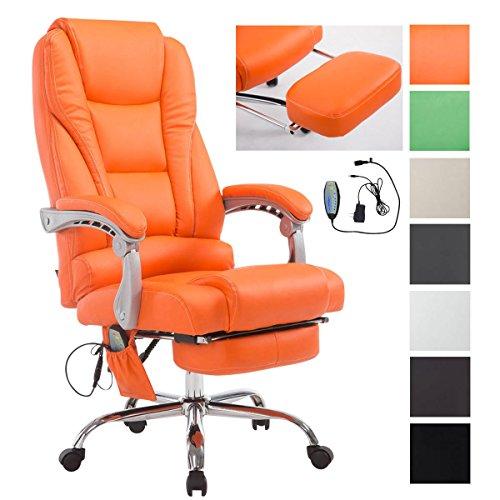 CLP Bürostuhl / Chefsessel PACIFIC mit Massage-Funktion, max. Belastbarkeit 150 kg, Relax-Sessel mit Fußablage (ausziehbar), höhenverstellbar 47 - 56 cm Orange