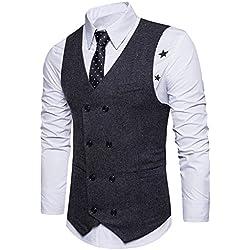 STTLZMC Chalecos de Trabajo Hombre V-Cuello Traje de Boda Negocios Slim Fit Tweed a Cuadros Blazer,Negro,Medium