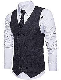 Boom Fashion Herren doppelt breasted Anzugweste Freizeit Business Casual Slim Fit Weste V-Ausschnitt Blazer