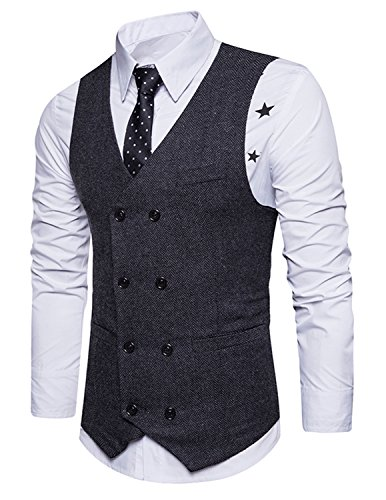 Boom Fashion Chaleco Hombre Blazers Traje Sin Manga Formal Negocios Slim Fit Negro xx-large