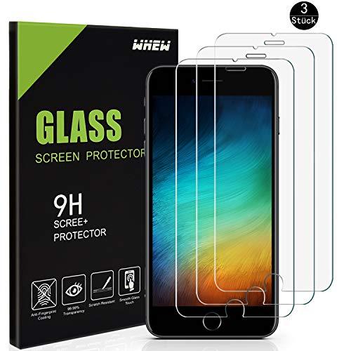 Whew Panzerglasfolie Schutzfolie Kompatibel iPhone 7 Plus/8 Plus,[3 Stück] 9H Härtegrad HD Ultra Transparent Bildschirmschutz,Anti-Öl,Kratzen & Blasenfrei,3D Touch Kompatibel Panzerglas Folie