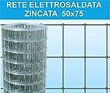 Rete Elettrosaldata Zincata Maglia 75X50. Rotolo Mt. 25.