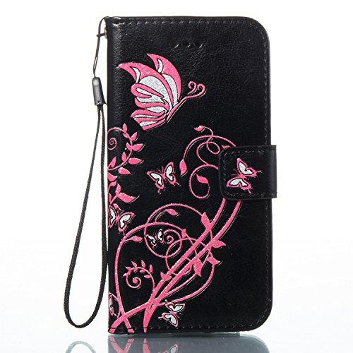 Cover iPhone 7 Rosa Caldo, Custodia iPhone 7, YingC-T iPhone 7 Custodia a Libro Flip Magnetica e Porta Carte di Credito con Cordino Bracciale Elegante Colorato Stampato Farfalla Fiori Design Skin pu P Nero