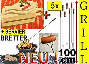 5x lange Grillspiesse + 4x Servierbrett-Holzbrett, 2x Schneidebrett groß viereckig 42x 22 cm + 2x Fisch 35x 16cm, Lagerfeuer-Würstchenspiesse, Grillspiess, Gemüse grillen, ideal für Outdoor,für Feuerschale, Feuerkörbe, Picknickgrill, Picknick-Grills, Gart