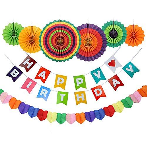 Dekoration, GoFriend Glücklich Geburtstage Banner Garland, 6pcs Bunten Fiesta Papier - Fans und 1 in Herz - Form Rainbow Paper - Party - Versorgung für Kinder und Erwachsene (Glückliche Geburtstage)