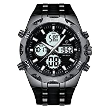 Man's Digital Analogue Watch with Dual Time Zone Stopwatch Timer EL Backlight Alarm/Casual and Business Quartz Wrist Watch with Silicone Band Waterproof