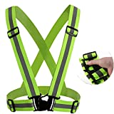 Unisex Reflecing Safety Vest,Bike Ribbon Bicycle Light Elastic Harness for Night Riding by Leoie