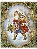 dpr. Fensterbild Nostalgie Weihnachtsmann Nikolaus mit Sack, Tasche und Strumpf einseitig mit Goldglimmer verziert statisch haftend Weihnachten Advent Fenstersticker Fensterdekoration Fensterfolie
