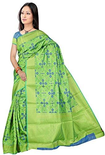 Indian Fashionista Women's Cotton Saree With Blouse Piece (Kansilkpatola003_Light Green)
