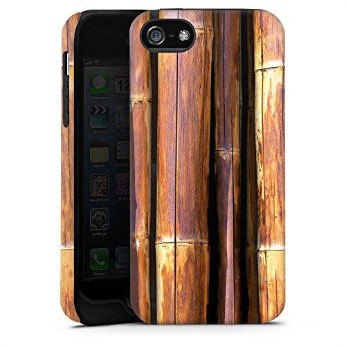 Apple iPhone X Silikon Hülle Case Schutzhülle Bambus Bambusrohr Braun Tough Case matt