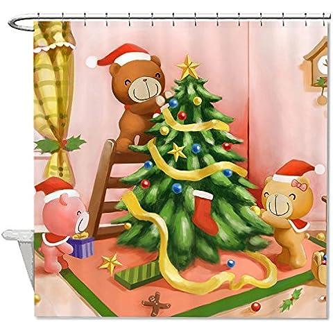 hanhaoki decorazione natalizia orso impermeabile e antimuffa Fun Tenda da doccia per vasca da bagno, #2, 66