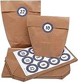 100% Mosel Calendrier de l'Avent à remplir soi-même - 24 sachets en papier marron 16 x 26 x 6,3 cm, 70 g/m² + 24 stickers blanc foncé, 43 mm...
