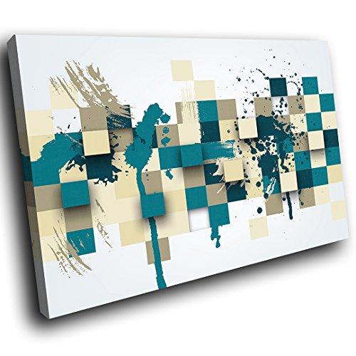 AB979C gerahmte Leinwanddruck Bunte Wand-Kunst - Blau Grau Teal Cool - modernes abstraktes Wohnzimmer Schlafzimmer Bild Stück Wohnkultur Interior Design Einfach Hang Guide - Teal Grau-wand-kunst