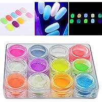 12 colores Polvo de fosforo de neon luminoso uñas purpurina polvo brillo en la oscuridad