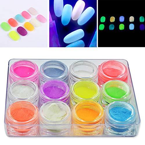 MEILINDS 12 colori Polvere fluorescente effetto fluorescente Polvere luminosa Nail Art