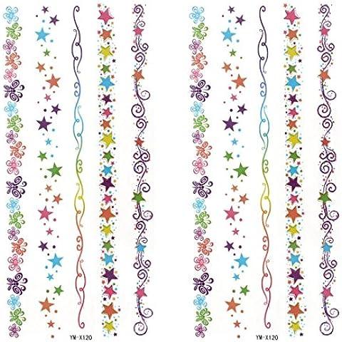 2 Piezas Coche Ventana Colorido Espiral Estampado Transferibles Tatuajes Adhesivos