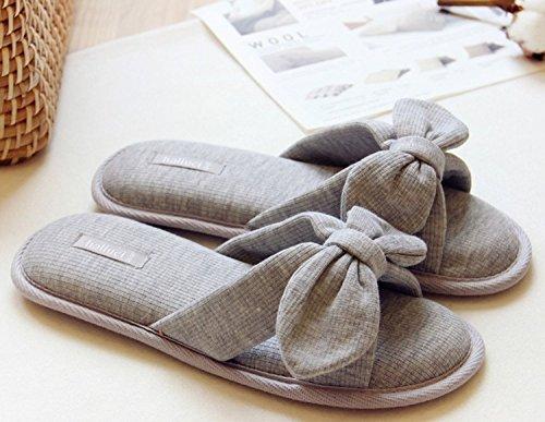 Minetom Donne Estate Bowknot Babouche Open-toed Bellissimo Interno Anti Scivolo Pantofole Grigio