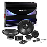 auna CS-Comp-12 Set Impianto Audio Macchina Car Hifi 8000 Watt (Amplificatore 6 Canali 570 Watt RMS, Crossover, 2 Subwoofer, 4 Casse Altoparlanti)