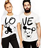 ADYK Couple's Cotton Mickey Printed T-Shirt (White, Medium) - Pack of 2