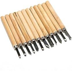 Hrph 12 piezas DIY de talla de madera de herramientas de grabado de la carpintería cuchillo Manual Cuchillo