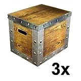 Celebration Ordnungsbox Dekobox aus Karton mit Deckel 3-er Set Motiv Holzkiste 37 x 30 x 32 cm