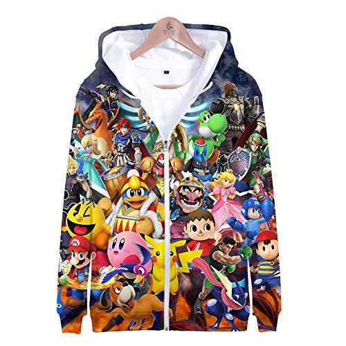 Bros Kostüm Smash Alle - Kapuzenpullover,Super Smash Bros Man Beiläufige Hoodies Pullover Langarm 3D Pullover Sweatshirts Lust auf Hoodie mit @ Anime_2XL